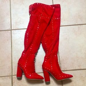 Amazing red suede studded boots